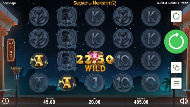 Secret of Nefertiti 2 :: Wild Multiplier triggers a three of a kind