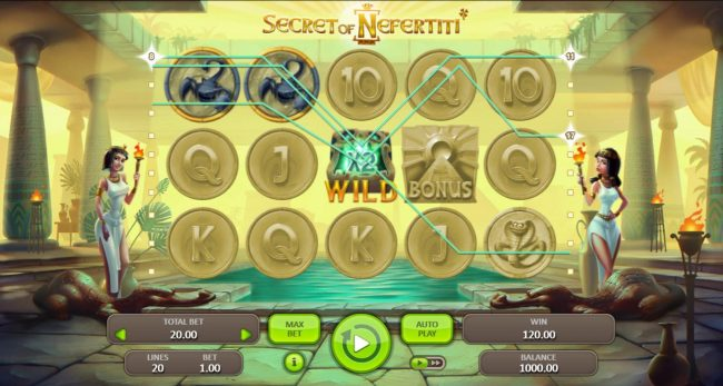 Casino Dingo featuring the Video Slots Secret of Nefertiti with a maximum payout of $50,000