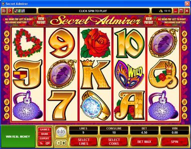Play slots at 21 Jackpots: 21 Jackpots featuring the Video Slots Secret Admirer with a maximum payout of $50,000