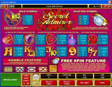 18 Bet featuring the Video Slots Secret Admirer with a maximum payout of $50,000