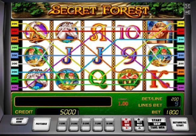 Secret Forest :: Main game board based on mythical fairy tale theme, featuring five reels and 9 paylines with a $1,800,000 max payout