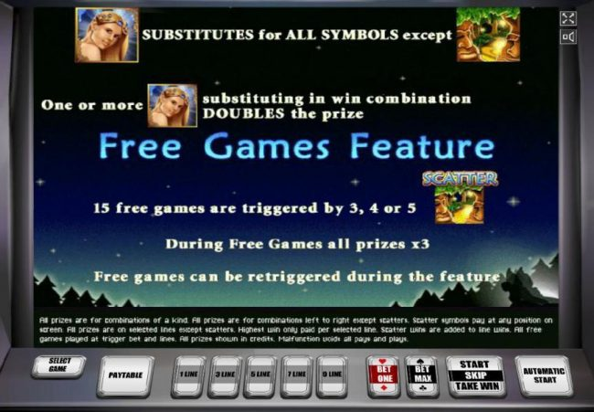 Secret Forest :: The Fairy represents the wild symbol. 3, 4 or 5 scatter symbols triggers 15 free games