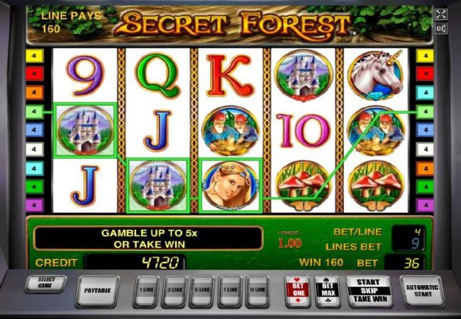 Secret Forest :: Three of a kind triggers a 160 coin win