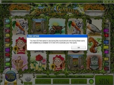 Royal Planet featuring the Video Slots Secret Garden with a maximum payout of $12,500