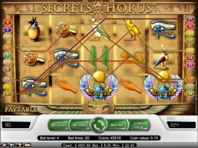 Crazy vegas featuring the Video Slots Secret Of Horus with a maximum payout of $20,000