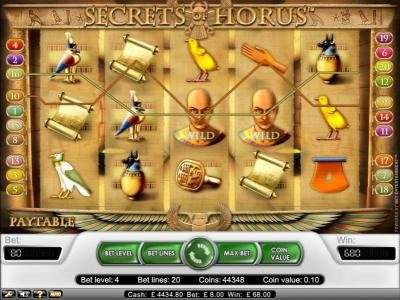 Money Storm featuring the Video Slots Secret Of Horus with a maximum payout of $20,000