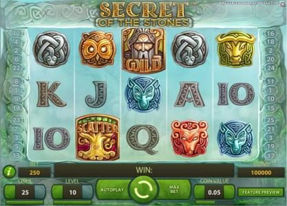 LaFiesta featuring the Video Slots Secret of the Stones with a maximum payout of $175,000