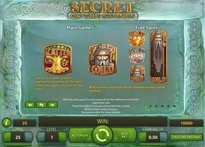 Campeon featuring the Video Slots Secret of the Stones with a maximum payout of $175,000