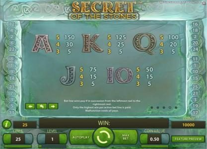 Shadowbet featuring the Video Slots Secret of the Stones with a maximum payout of $175,000