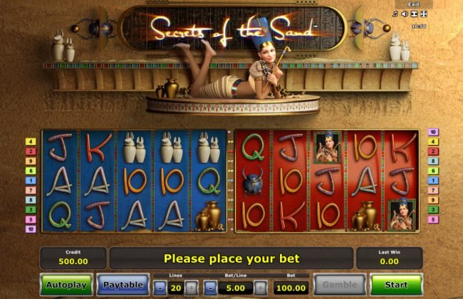 Casumo featuring the Video Slots Secrets of the Sand with a maximum payout of $25,000