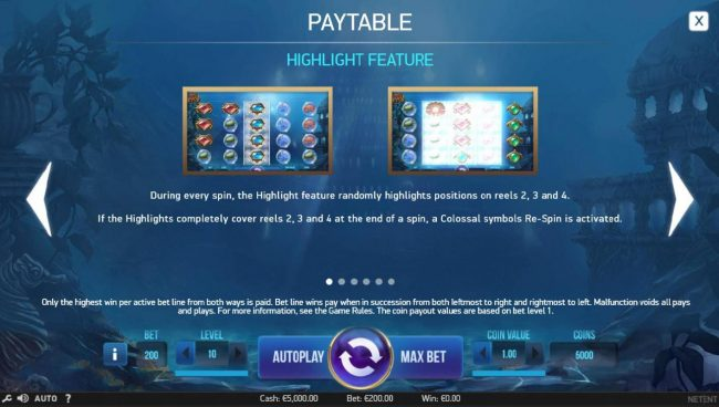 Napoli featuring the Video Slots Secrets of Atlantis with a maximum payout of $1,600,000