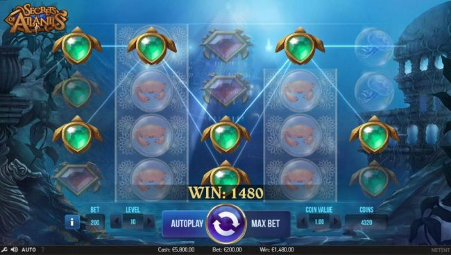 Magic Red featuring the Video Slots Secrets of Atlantis with a maximum payout of $1,600,000