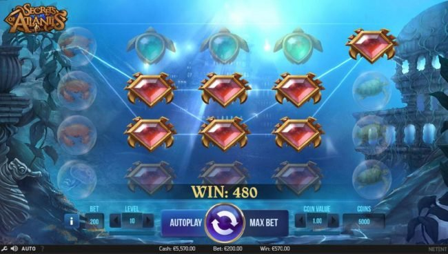 A colossal symbol leads to multiple winning conbinations and a 480 coin payout.