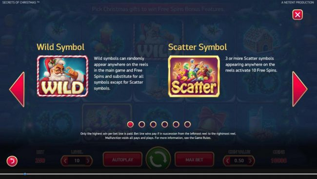 Casino Room featuring the Video Slots Secrets of Christmas with a maximum payout of $1,750,000