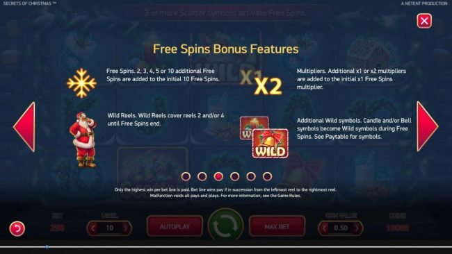 Play Million featuring the Video Slots Secrets of Christmas with a maximum payout of $1,750,000