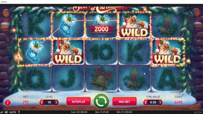 Jonny Jackpot featuring the Video Slots Secrets of Christmas with a maximum payout of $1,750,000
