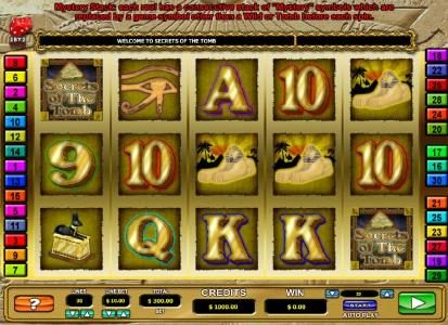 Casino Cruise featuring the Video Slots Secrets of the Tomb with a maximum payout of $10,000