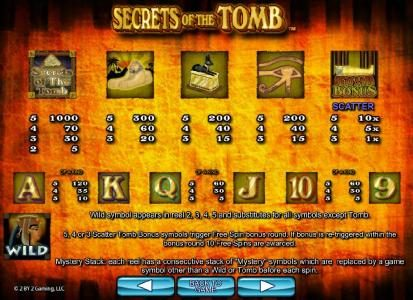 Amsterdam Casino featuring the Video Slots Secrets of the Tomb with a maximum payout of $10,000