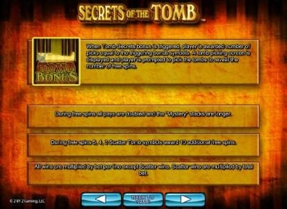 Diamond 7 featuring the Video Slots Secrets of the Tomb with a maximum payout of $10,000