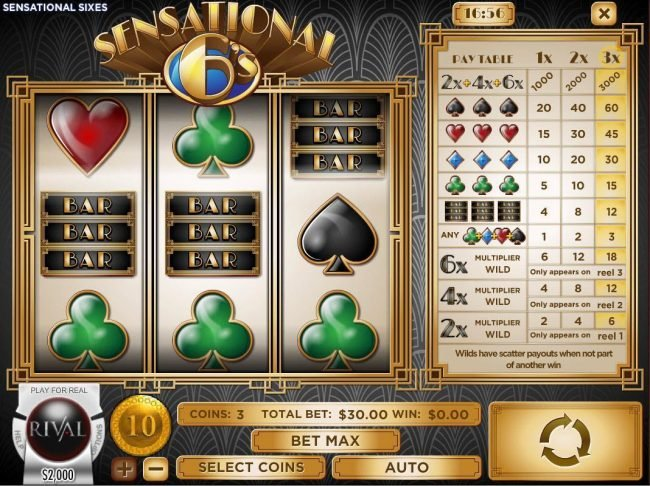 Play slots at Lotus Asia: Lotus Asia featuring the Video Slots Sensational 6's with a maximum payout of $30,000