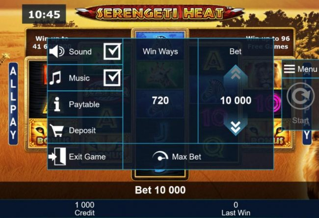 Serengeti Heat :: Click on the side menu button to adjust the coin value.
