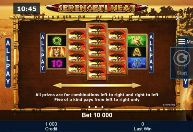 Serengeti Heat :: All prizes are for combinations left to right and right to left. Five of a kind pays from left to right only.