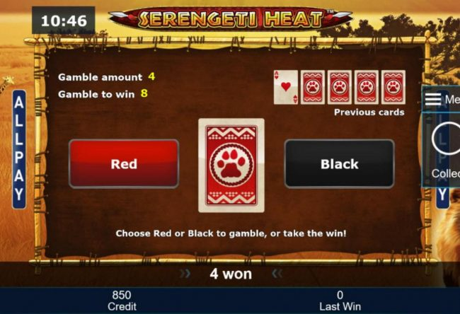 Serengeti Heat :: Gamble Feature - To gamble any win press Gamble then select Red or Black.