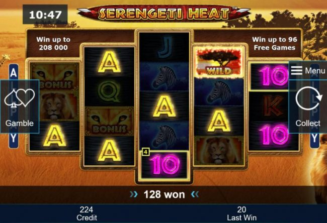 Serengeti Heat :: Winning combinations pay in both directions.