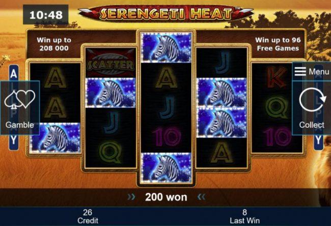 Serengeti Heat :: Winning zebra symbol triggers a 200 coin payout