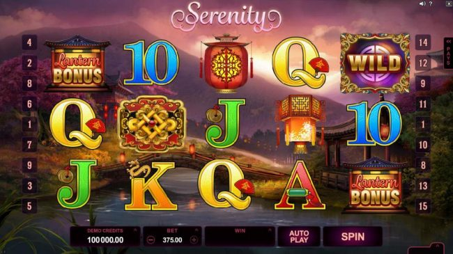 Lucky 247 featuring the Video Slots Serenity with a maximum payout of $600,000