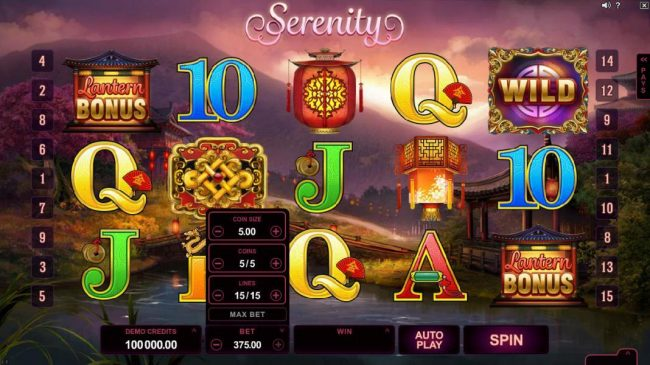 Viggoslots featuring the Video Slots Serenity with a maximum payout of $600,000