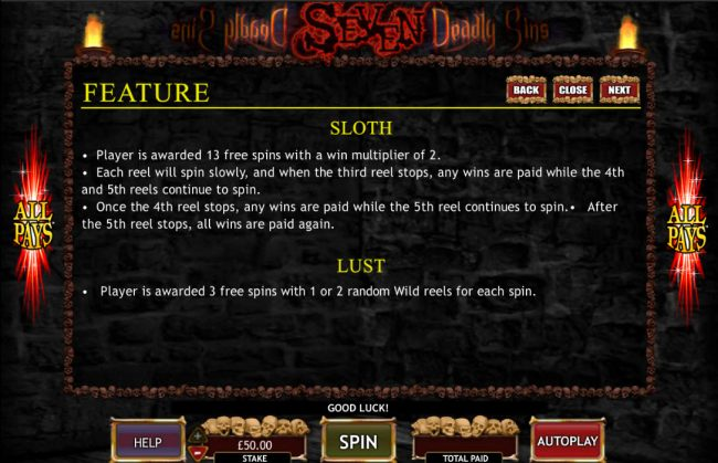 Casino Cruise featuring the Video Slots Seven Deadly Sins with a maximum payout of $50,000