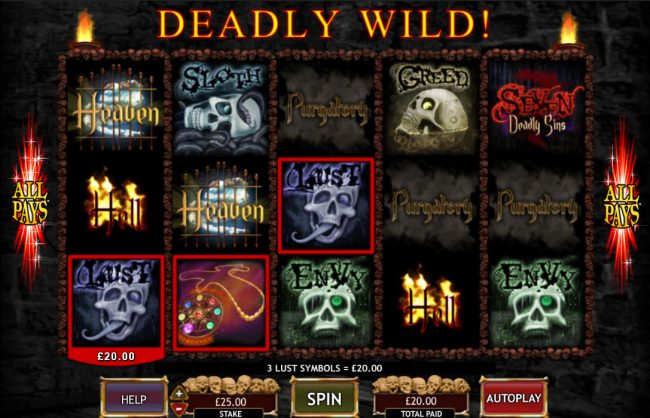 Casumo featuring the Video Slots Seven Deadly Sins with a maximum payout of $50,000
