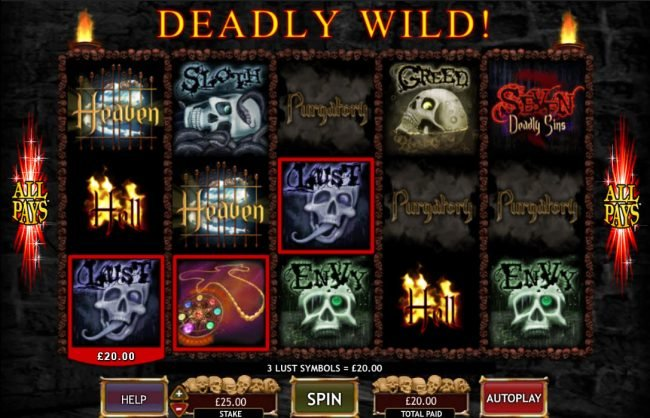 Casino 440 featuring the Video Slots Seven Deadly Sins with a maximum payout of $50,000