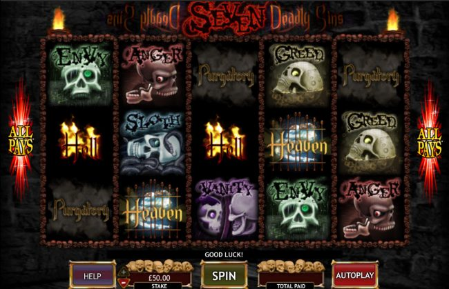 Play slots at Play Million: Play Million featuring the Video Slots Seven Deadly Sins with a maximum payout of $50,000