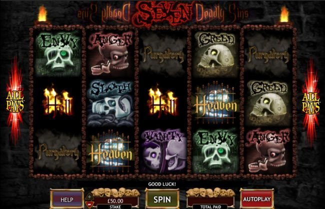 Play slots at Winner Million: Winner Million featuring the Video Slots Seven Deadly Sins with a maximum payout of $50,000