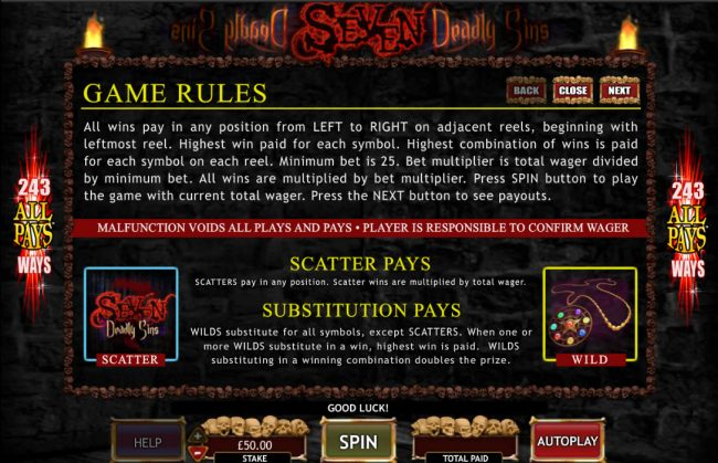 Vegas Winner featuring the Video Slots Seven Deadly Sins with a maximum payout of $50,000