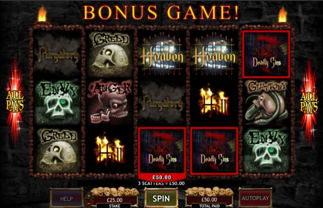 UK Casino Club featuring the Video Slots Seven Deadly Sins with a maximum payout of $50,000