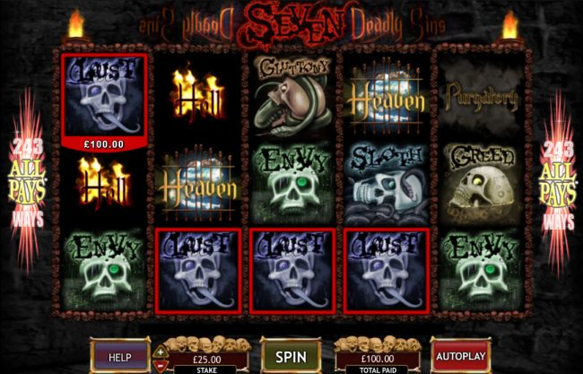 Mummys Gold featuring the Video Slots Seven Deadly Sins with a maximum payout of $50,000