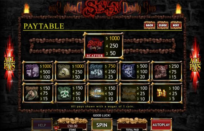 Play slots at Bonanza: Bonanza featuring the Video Slots Seven Deadly Sins with a maximum payout of $50,000