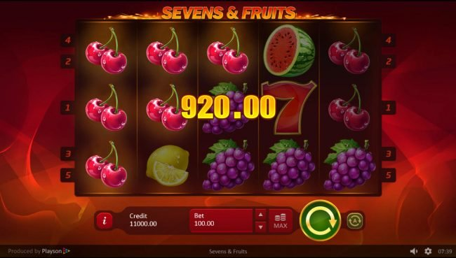 Sevens & Fruits :: Multiple winning paylines triggers a big win