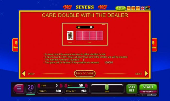 Sevens :: Card Double with the Dealer Rules