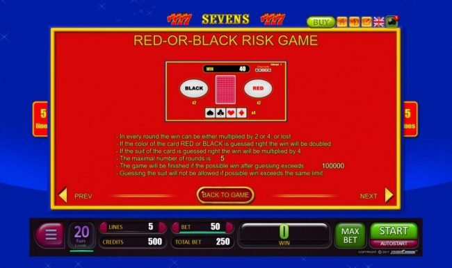 Sevens :: Red-Or-Black Risk Game Rules