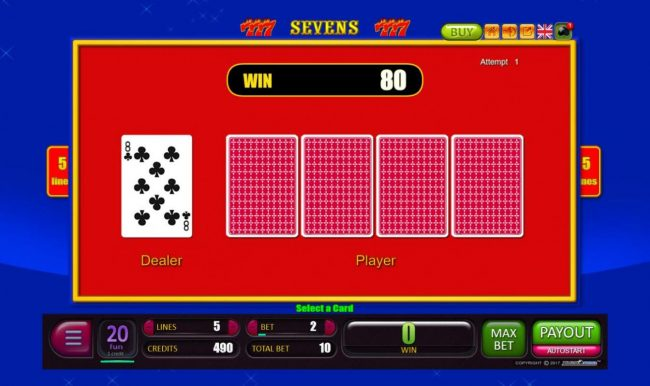 Sevens :: Beat The Dealer - Double or Nothing Gamble Feature Game Board - Select a card that is higher than the dealers for a chance to double your winnings.