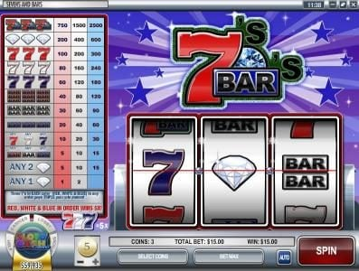 Vegas Days featuring the Video Slots Sevens and Bars with a maximum payout of $75,000