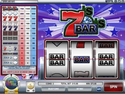 Winbig21 featuring the Video Slots Sevens and Bars with a maximum payout of $75,000