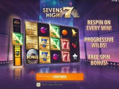 Jackpot Paradise featuring the Video Slots Sevens High with a maximum payout of $2,000