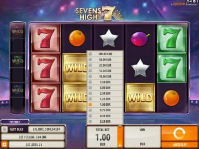 Casumo featuring the Video Slots Sevens High with a maximum payout of $2,000