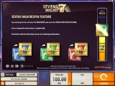 Dreamy 7 featuring the Video Slots Sevens High with a maximum payout of $2,000