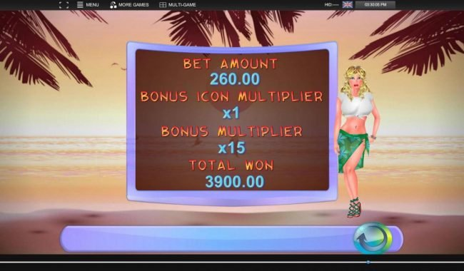 Bonus feature pays out a total of 3900